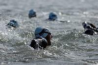 Discipline swimming, Triathlon of Ameland, Nes, Ameland, Frisia, Netherlands, North Sea