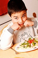 CHILD EATING A MEAL Model. 5_and_half_year_old boy.