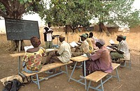 School for illiterate adults. Province of Banfora, Senoufo country, Burkina Faso.