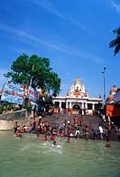 Dakshineshwar temple from Hooghly Ganga River near Calcutta , West Bengal , India