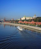 Russia, Moscow, Russian, Architecture, Building, Moskva, river, Tower, blue sky, embankment, Boat, vessel, ship, touri