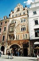 Painted facade of old building, old town square Staromestske Namesti, Prague, Czech Republic