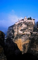 Greek Orthodox Holy Monastery of Great Meteoron erected in the mid-14th century, Meteora. Thessaly, Greece