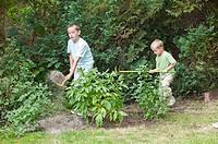 Young boys gardening