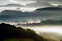 Fog over Goierri valley. Guipuzcoa, Basque Country, Spain