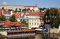 Vltava river with Prague Castle in background, Prague, Czech Republic