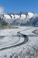Great Aletsch Glacier, the heart of the UNESCO World Heritage Site Jungfrau-Aletsch-Bietschhorn, Goms, Wallis, Switzerland, Europe