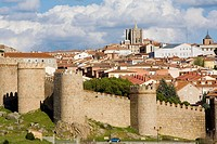 Overview of Ávila with the medieval city walls, the best preserved ones in Spain. They date from 1090, with 2,5 km long, 88 towers and 6 gates. Ávila ...