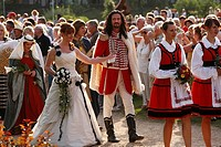 Man dressed up as the Fuerst Rakoczi and the Quellenkoenigin, queen, Rakoczi Festival, Rosengarten, Bad Kissingen, Rhoen, Lower Franconia, Bavaria, Ge...