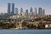 Ortakoy Mosque and Levent financial district skyline, Istanbul, Turkey