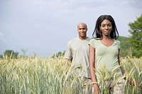 African couple in remote field