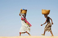 Mali. Sahel. Women of Djenne. Returning from the market.