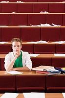 Male student in lecture theatre