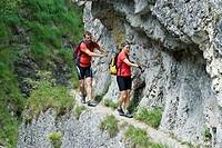 Via ferrata in the Kalkalpen National Park, Upper Austria, Europe