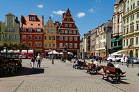 Plac Solny market square by the market square or rynek of Wroclaw, Silesia, Poland, Europe