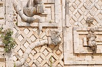 Detail, snake on the Nunnery Quadrangle palace, north side, Mayan excavation site, Uxmal, Yucatan, Mexico, Central America