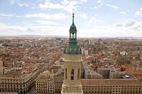 View over the historic centre of the city from the Basilica del Pilar cathedral, Plaza del Pilar square, in Saragossa or Zaragoza, Aragon, Spain, Euro...