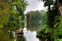Rowboat going across the lakes and canals at Schoch's Garden, Kleines Walloch watercourse and the Venus Temple, Dessau-Woerlitz Garden Realm, UNESCO W...