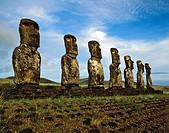 Seven moais of Ahu Akivi, stone sculptures, Rapa Nui National Park, Easter Island, Chile, Oceania