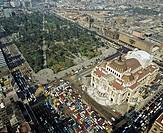Aerial picture of the Palacio de las Bellas Artes, palace of fine arts in Mexico City, Mexico, Central America