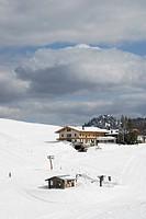 Alpine huts, cabins in the Oberes Sudelfeld Ski Area, Bavaria, Germany