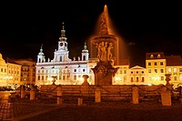 Fountain, historic centre of Ceske, Budejovice, Budweis, Budvar, South Bohemia, Czech Republic, Czechia