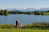 Schwaltenweiher Pond near Seeg, Ostallgaeu, Swabia, Bavaria, Germany, Europe