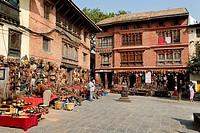 Shop with nepalese souvenirs, Swayambhunat Temple, Kathmandu, Nepal