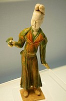 China, Shanghai, People Square, Shanghai Museum, polychrome Glazed Pottery Figurine of Woman with Parrot on Hand, Tang, A.D. 618-907