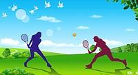 Tennis Play,Composite Illustration
