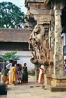 Beautifully worked statues at Sri Padmanabhaswami temple , Trivandrum , Kerala , India