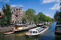Boat in canal, Prinsengracht, Amsterdam, Netherlands