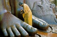 THE MAHAMASTAKABISHEKA IS THE HEAD ANOINTING OF THE 1800 YEAR OLD STATUE OF PROPHET GOMATESHVARA OR BAHUBALI  IT IS HELD EVERY 12 YEARS