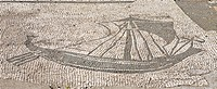 Floor mosaic at a shipping guild house, Ostia Antica archaeological site, Rome, Italy, Europe