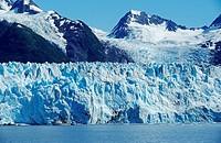 Meares Glacier flowing into the sea, Prince William Sound, Alaska, USA