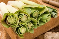 Leeks In A Wooden Tray