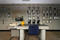 Control room of the blast furnace, disused ironworks Henrichshuette, industrial museum, Hattingen, NRW, Germany