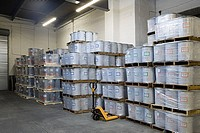 Stack of pallets in a warehouse