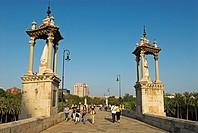 Historic bridge Puente del Mar, City of Valencia, Spain, Europe