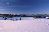 Winter landscape over the plateau, remote houses in the background, Filipova Hut, Sumava, Bohemian Forest, Czech Republic