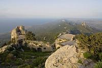 Kantara castle ruins, Kyrenia mountain range, Pentadactylos mountains, North Cyprus, Cyprus