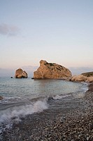 Petra tou Romiou in the evening light, Rock of Aphrodite, Aphrodite´s birthplace, Symbol, the Rock from which Aphrodite mythically arose from the sea,...