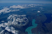 Aerial view of Lago Pehoe, Paine Massiv Torres del Paine National Park, Patagonia, Chile
