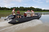 ZDF television film crew during MS Europa Zodiac Expedition on sidearm of the Amazon River, Boca da Valeria, Amazonas, Brazil, South America