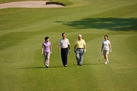 Japanese golfers walking together