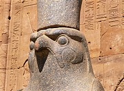 Close_up of the statue of Horus the falcon god, at the Temple of Horus, Edfu, Egypt, North Africa, Africa