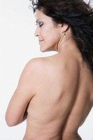Portrait of nude mixed race woman