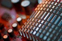 Close_up of a heatsink on a mother board