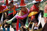 Tibetans dressed for religious shaman´s ceremony, Tongren, Qinghai Province, China, Asia
