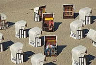 Beach chairs at Sellin, Ruegen island, Mecklenburg Western Pomerania, Germany, Europe